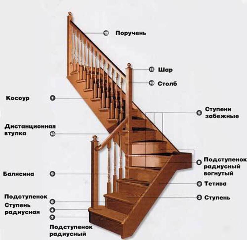 Виды и конструкции деревянных лестниц
